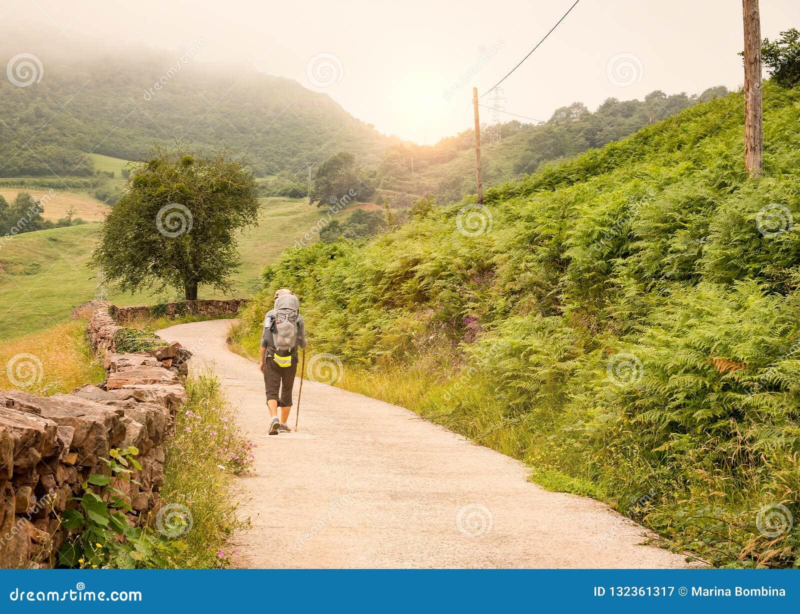 有背包的走孤独的香客Camino de圣地亚哥