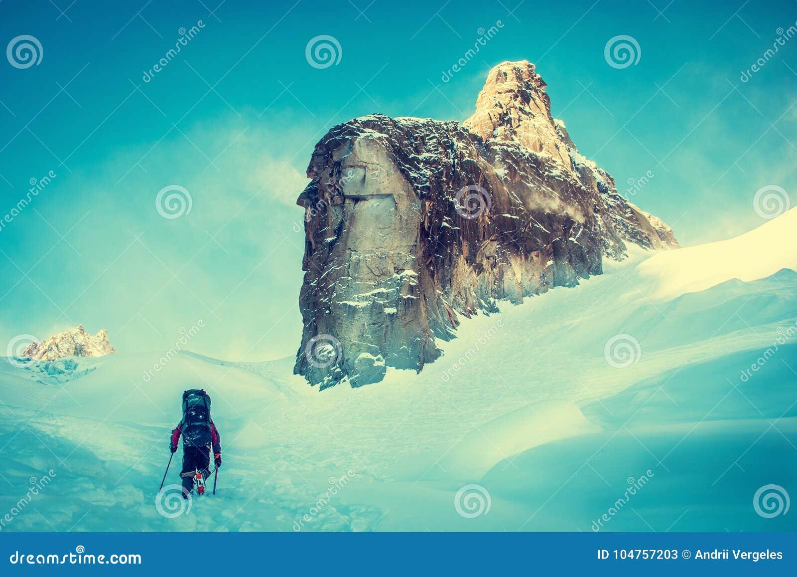 有背包的远足者到达山峰山顶  成功自由和幸福成就在山 活跃体育骗局