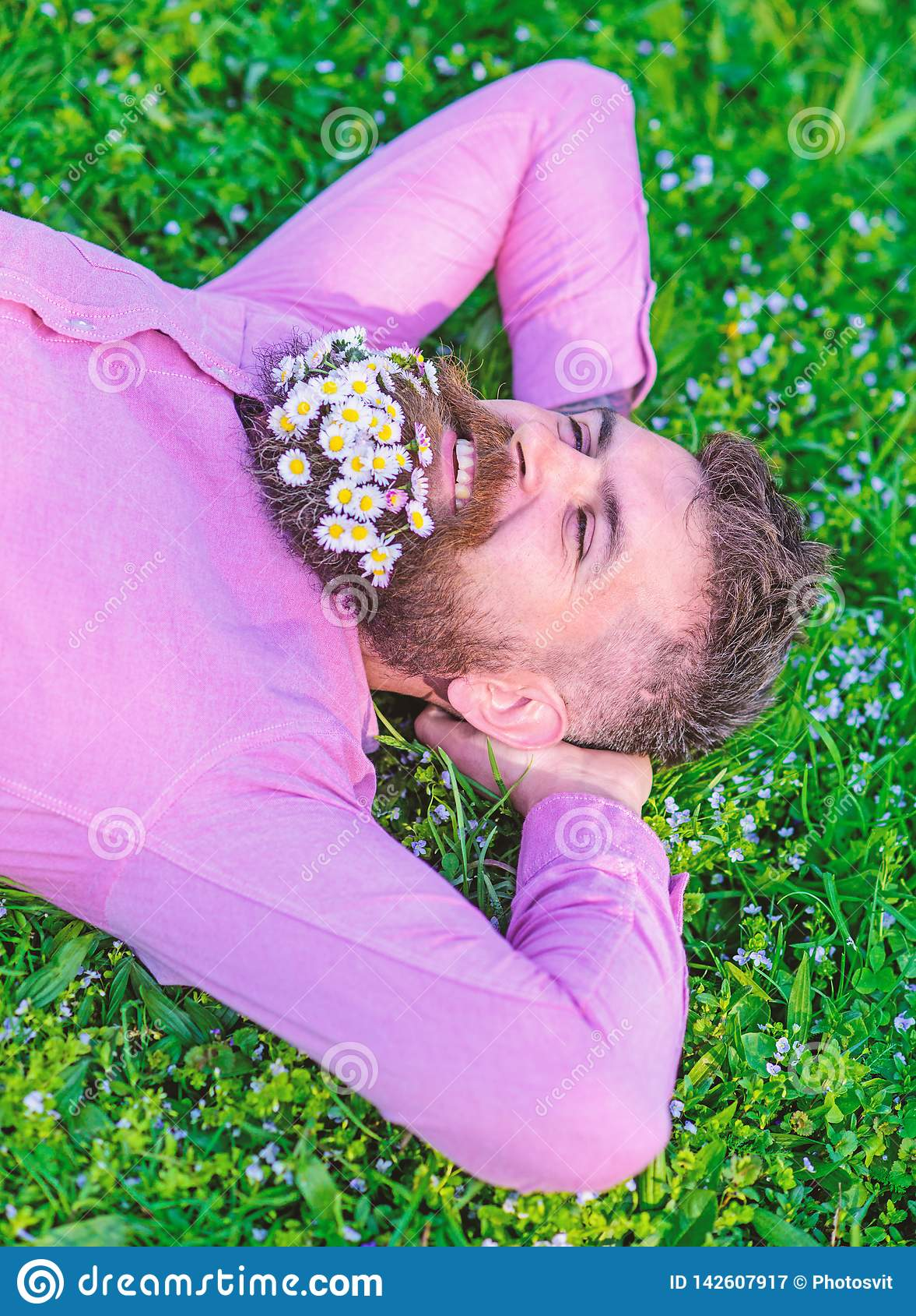 有胡子的人在微笑的面孔享受自然 有雏菊花束的行家在胡子放松的 与自然团结