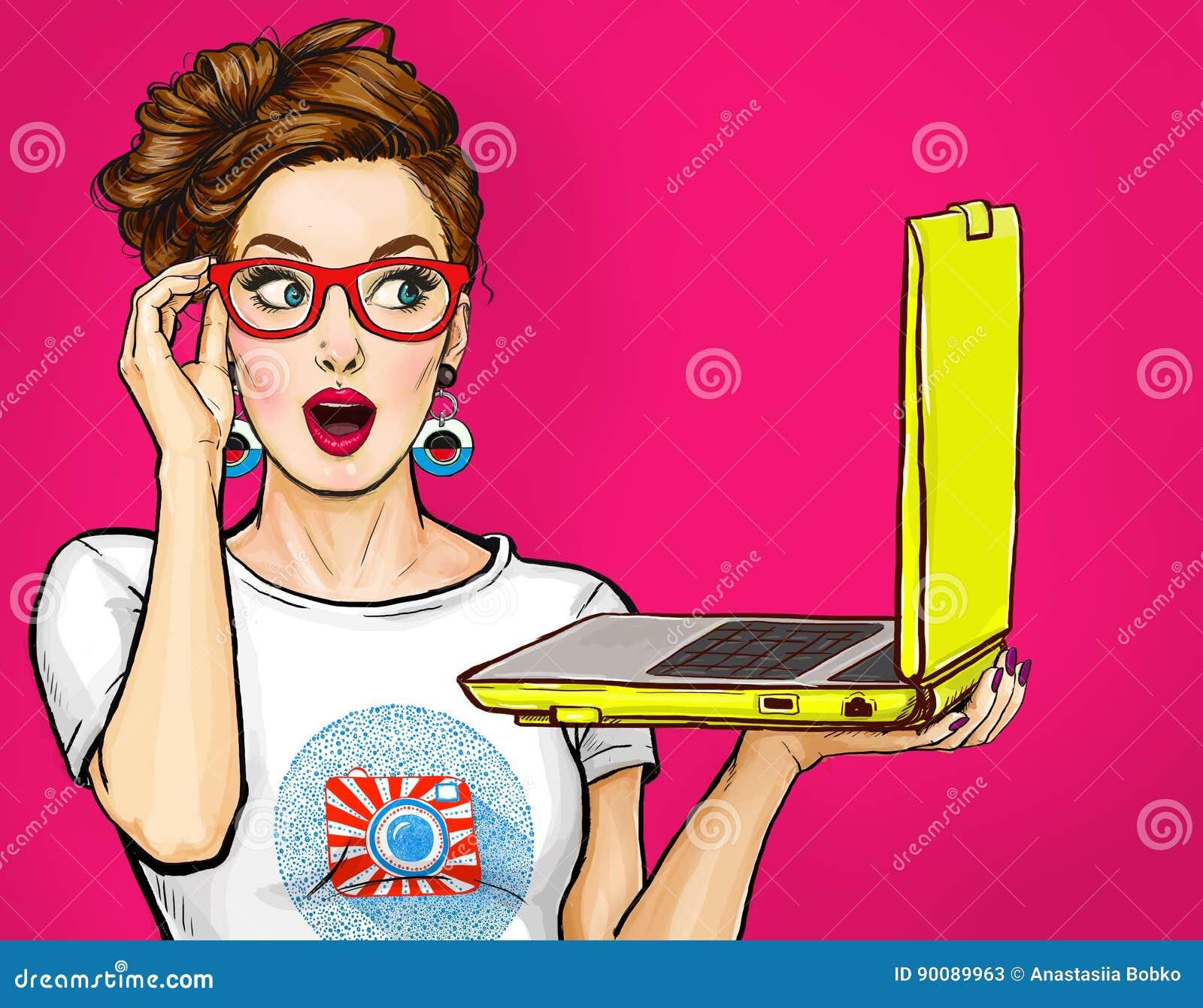 有膝上型计算机的女孩在可笑的样式的手上 有笔记本的妇女 玻璃的女孩 行家女孩 数字式广告