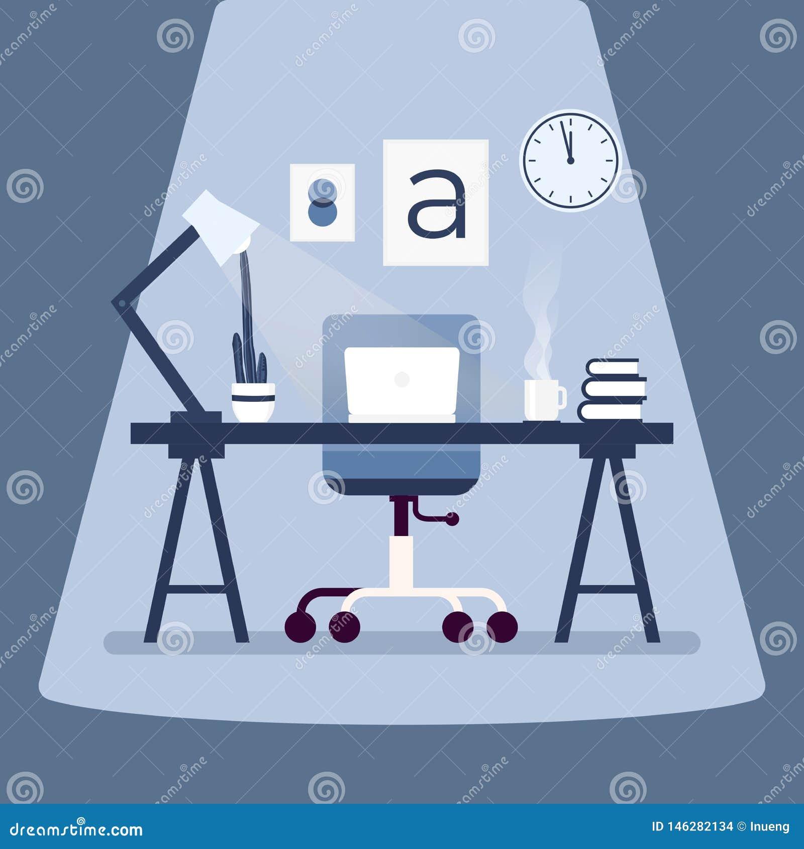 有膝上型计算机的现代设计师工作场所在桌上 工作场所概念平的设计