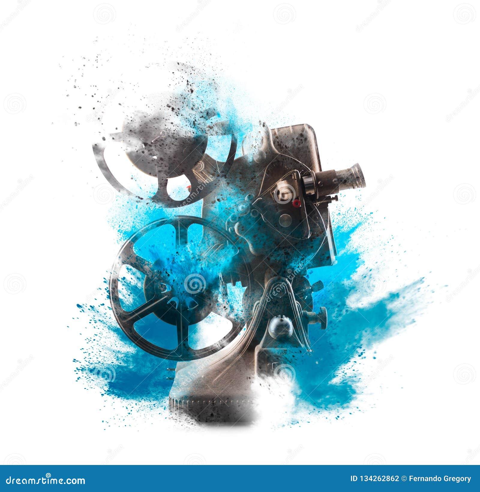 有色的爆炸的老电影放映机