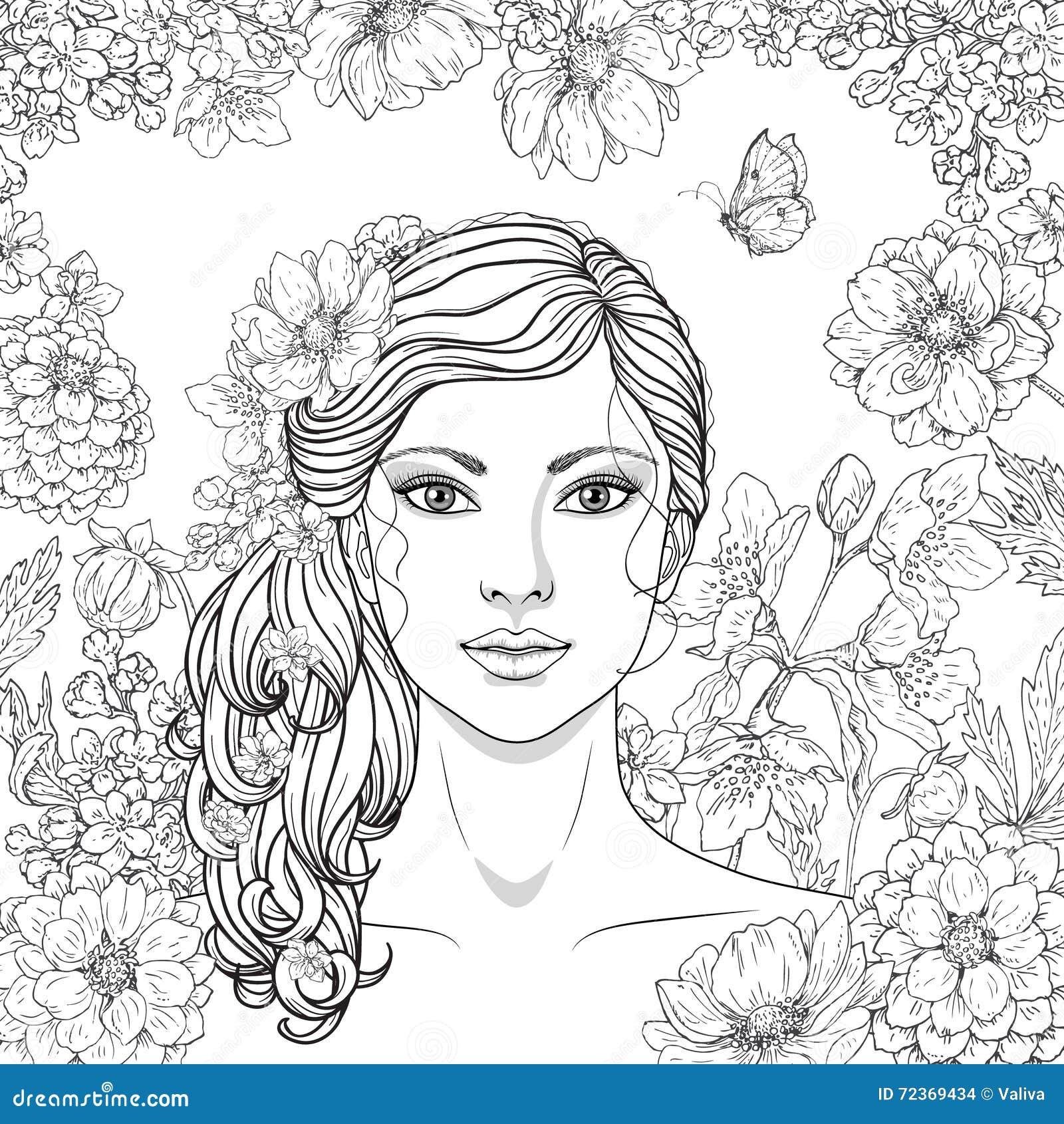 有花和蝴蝶的女孩