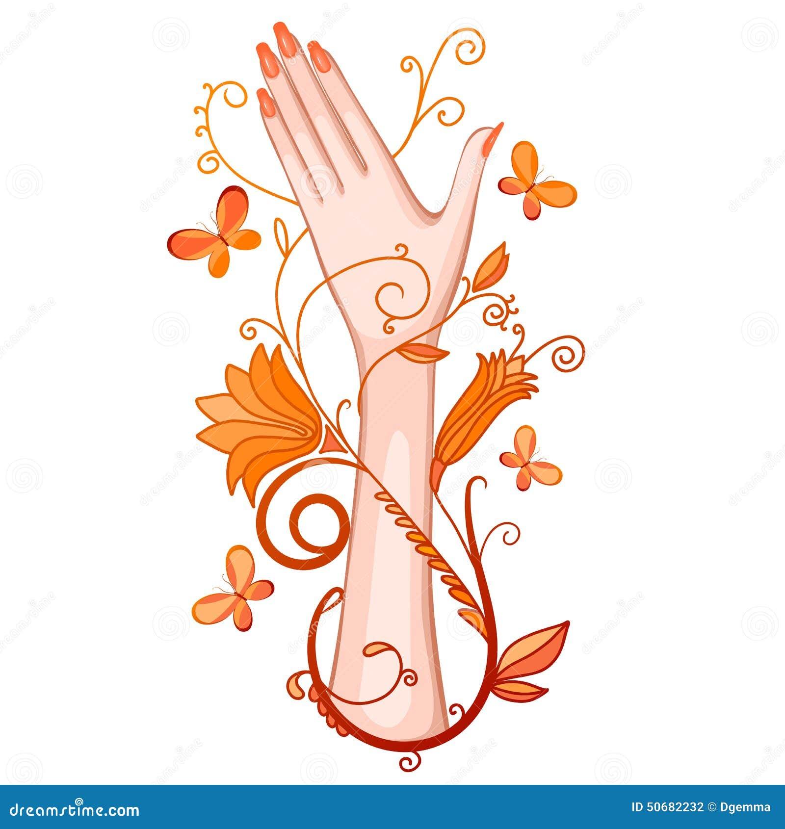 Download 有花和蝴蝶的女性手 向量例证. 插画 包括有 卷毛, 剪影, 艺术, 典雅, 春天, 温泉, 查出, 空白 - 50682232