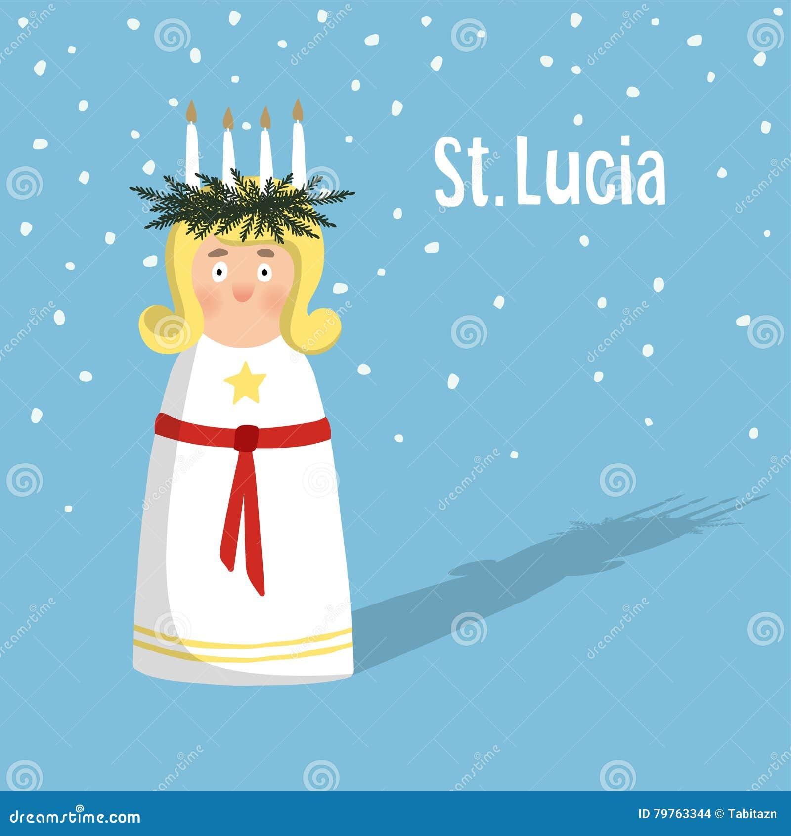 有花圈的小白肤金发的女孩和蜡烛加冠,圣卢西亚 瑞典圣诞节传统,例证背景