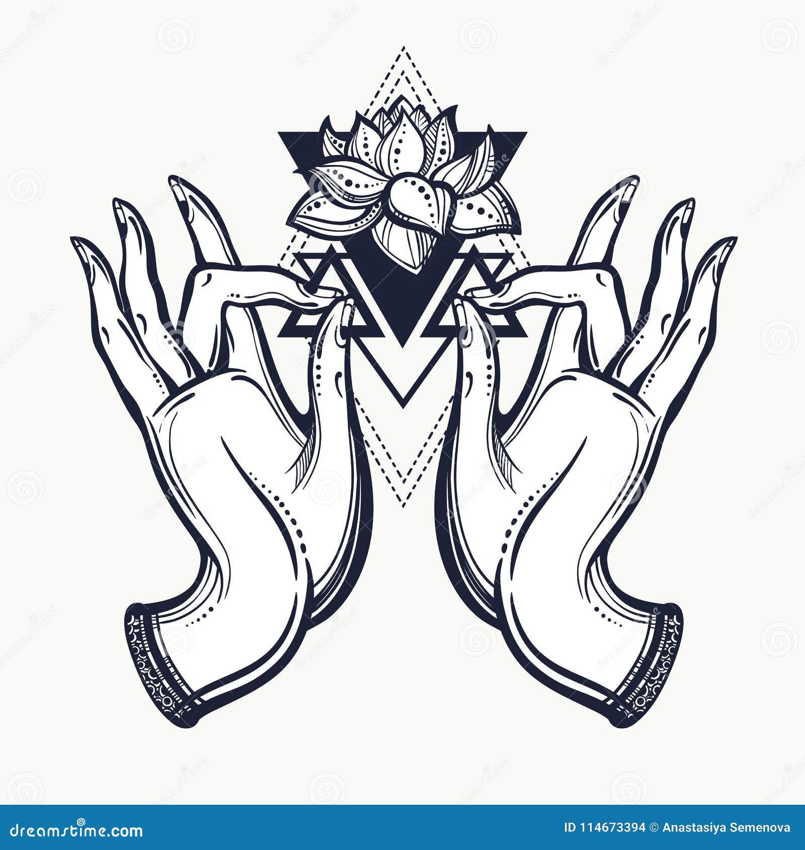 有莲花和神圣的几何的美好的手拉的菩萨手 查出的向量例证 纹身花刺,瑜伽,灵性