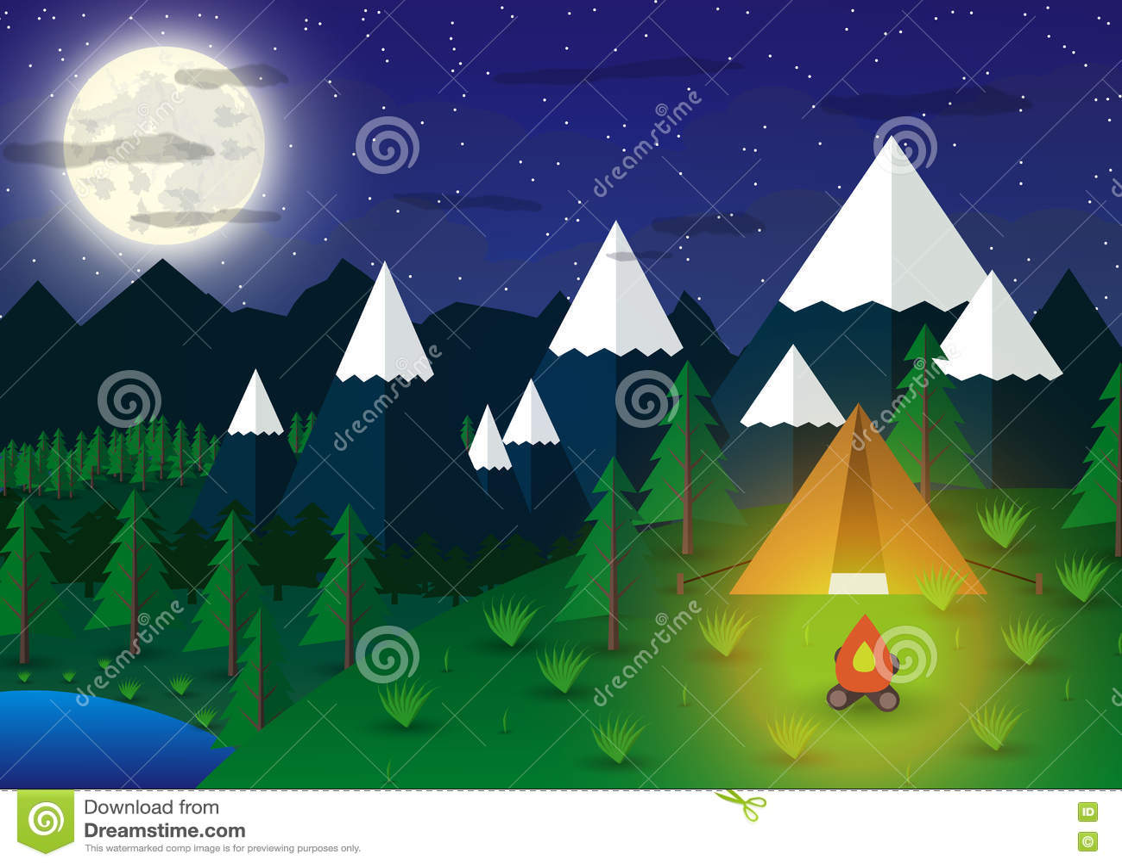 有营火的夏天露营地