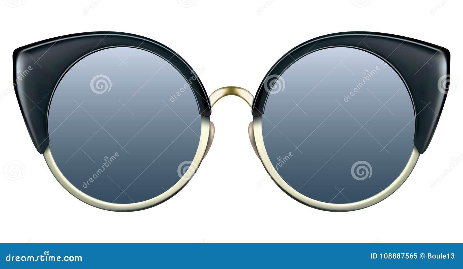 有蓝色透镜和金金属框架的太阳镜