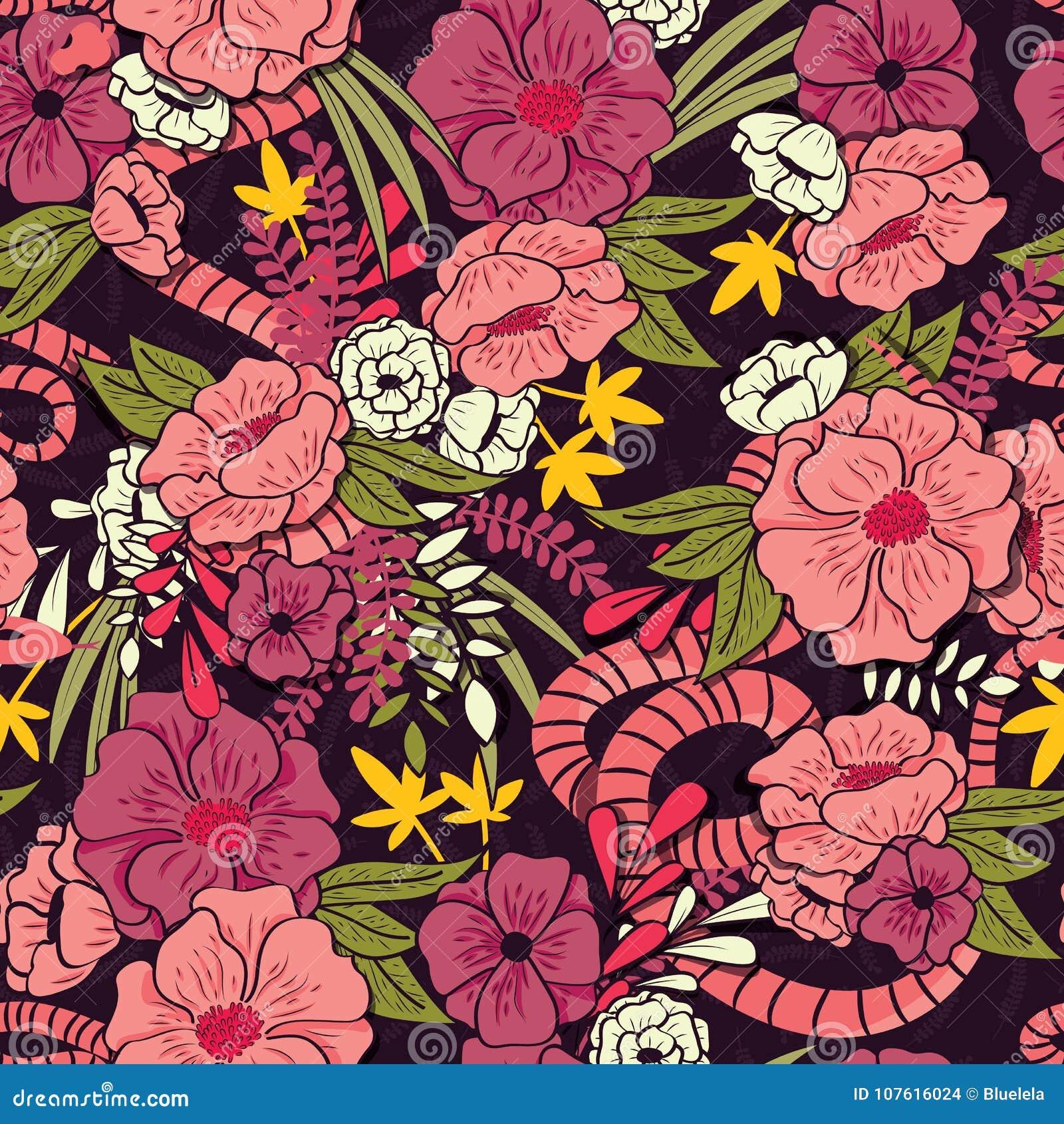 有蛇无缝的样式、热带花和叶子的,植物手拉充满活力花卉密林
