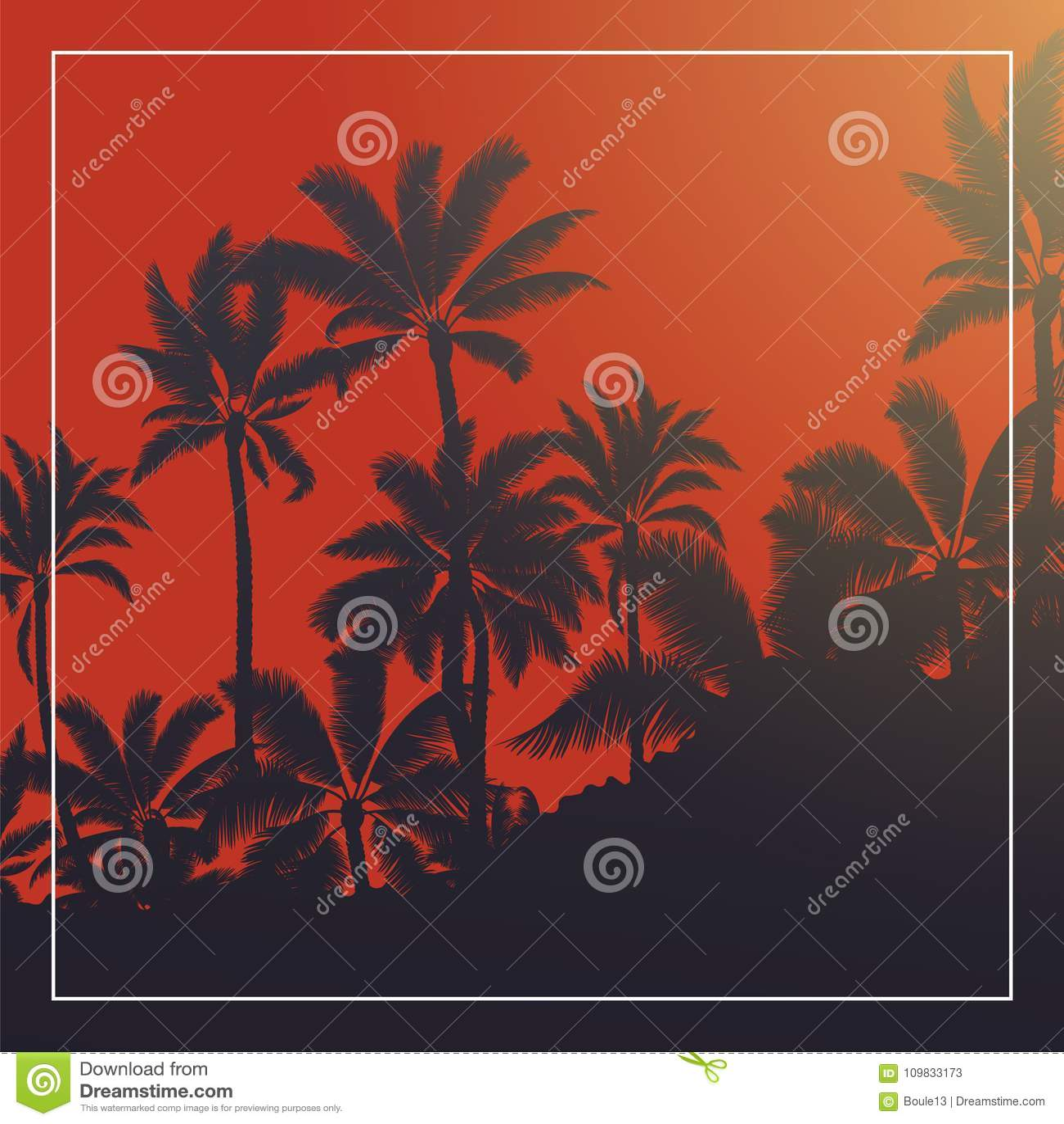 有血液月亮日出和蓝天的热带棕榈
