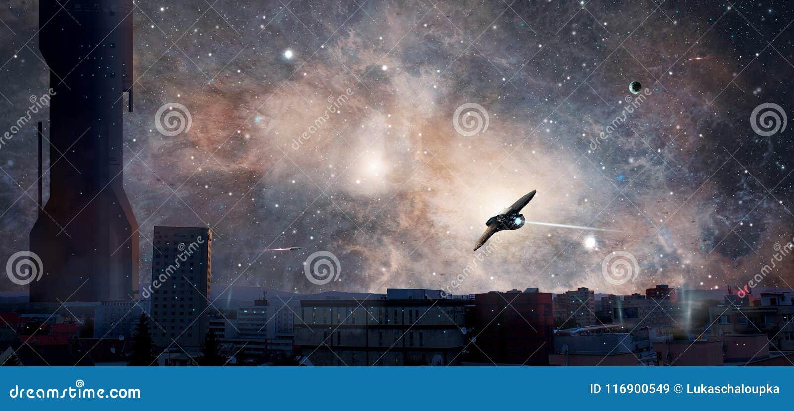 有行星、星云和太空飞船的,元素科学幻想小说城市装备