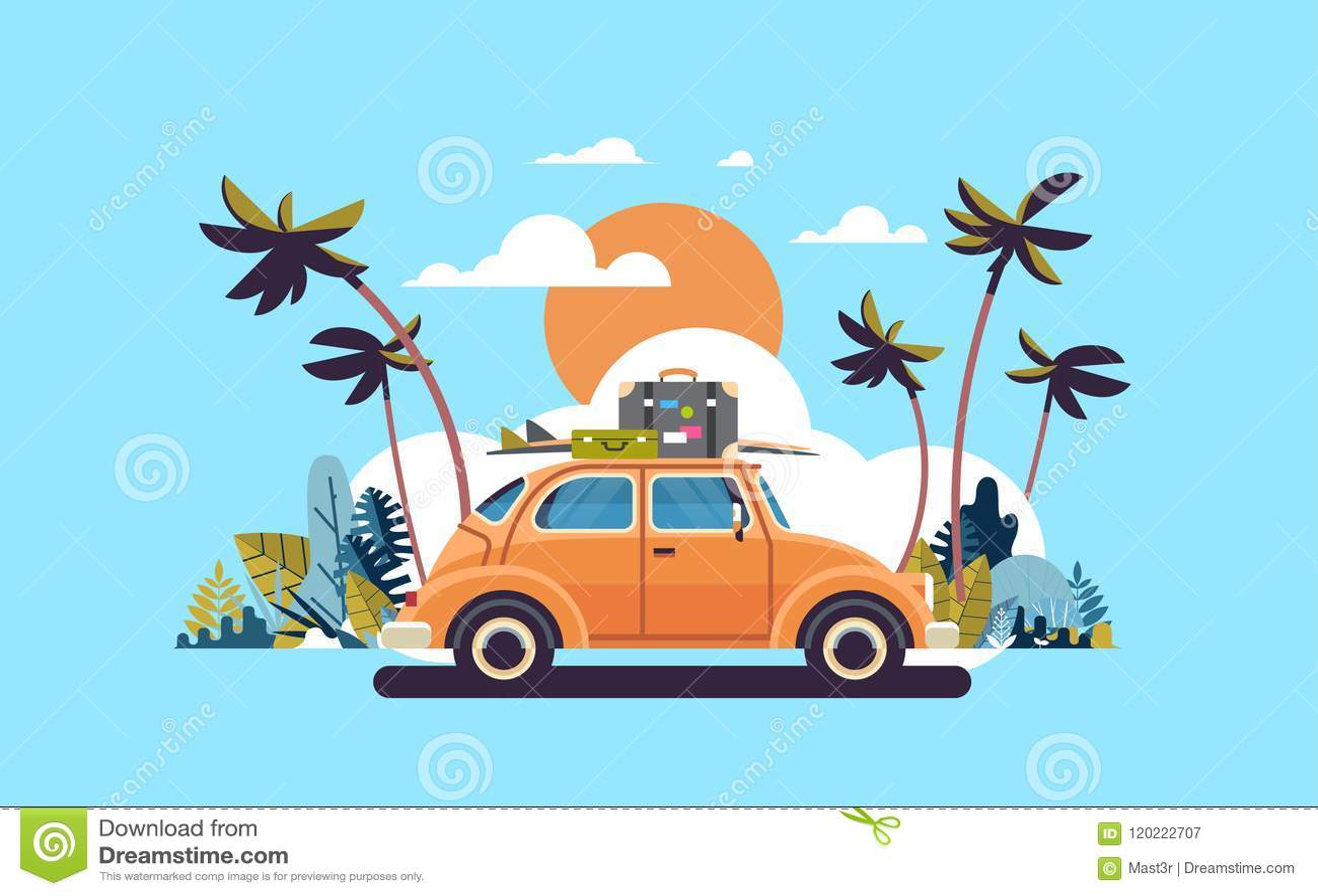 有行李的减速火箭的汽车在屋顶热带日落海滩冲浪的葡萄酒贺卡模板海报舱内甲板