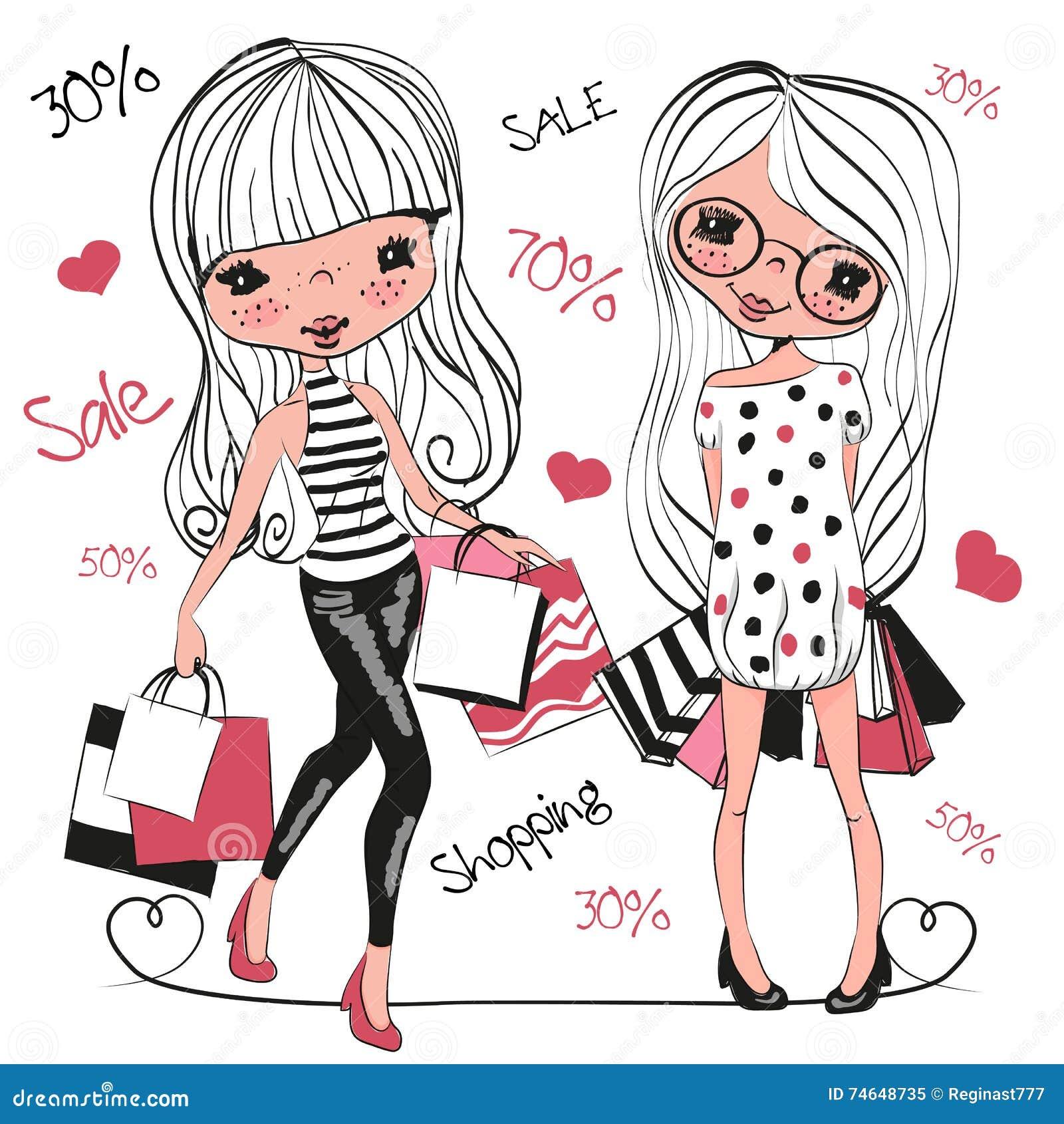 有袋子的两个逗人喜爱的动画片女孩