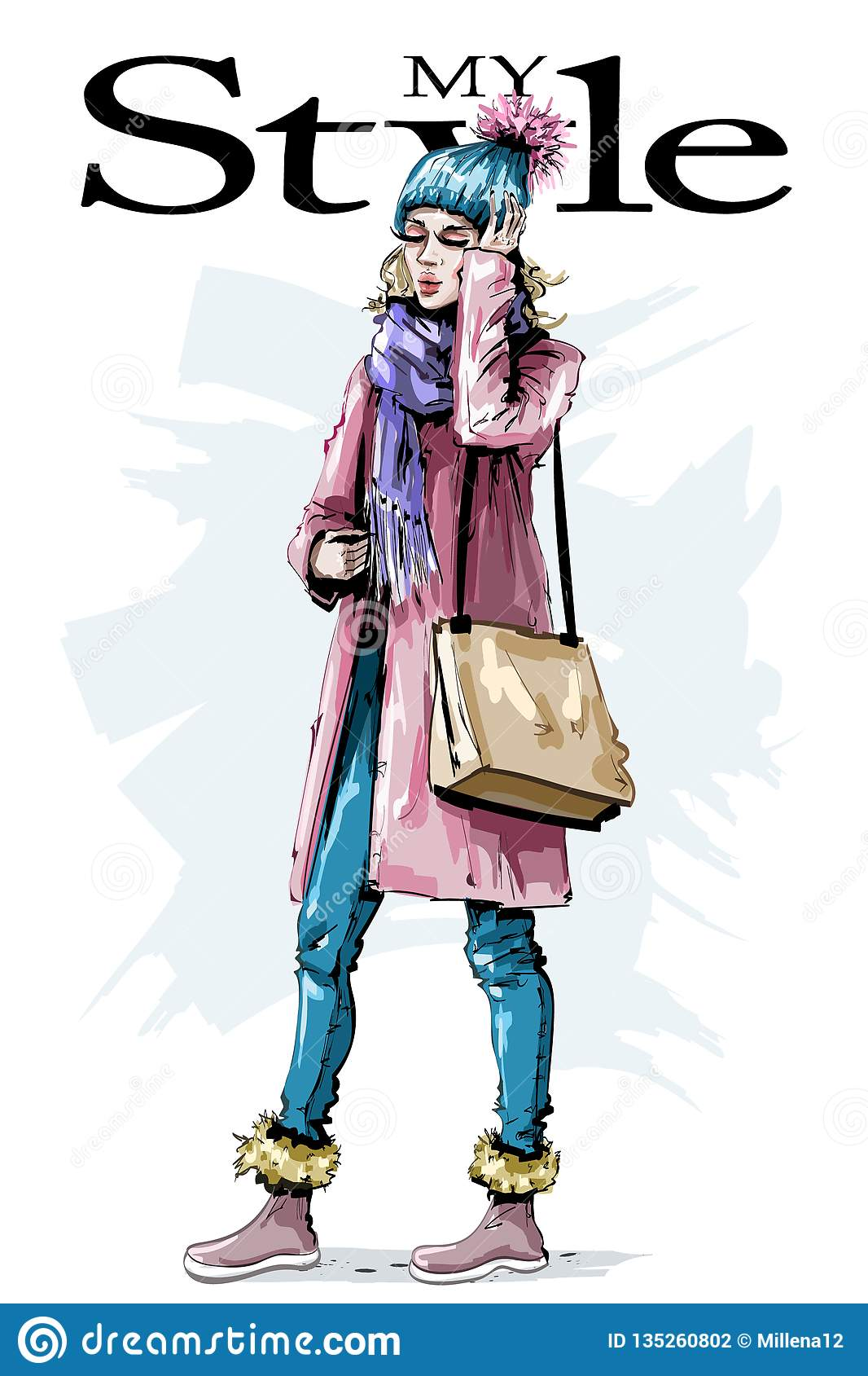 有袋子的手拉的美丽的少妇 时髦的女性冬天神色 时尚妇女成套装备