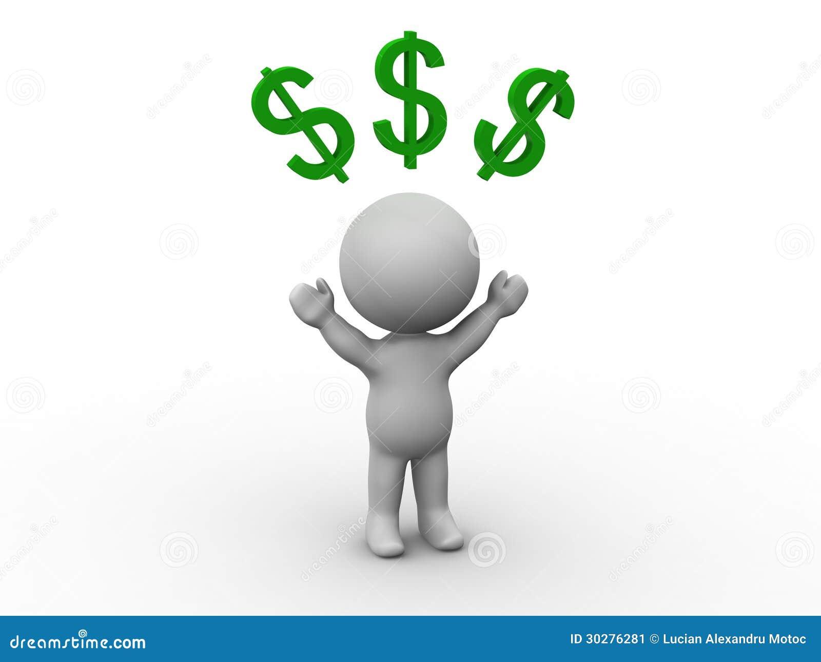 3D有美元的符号的人在他的头之上