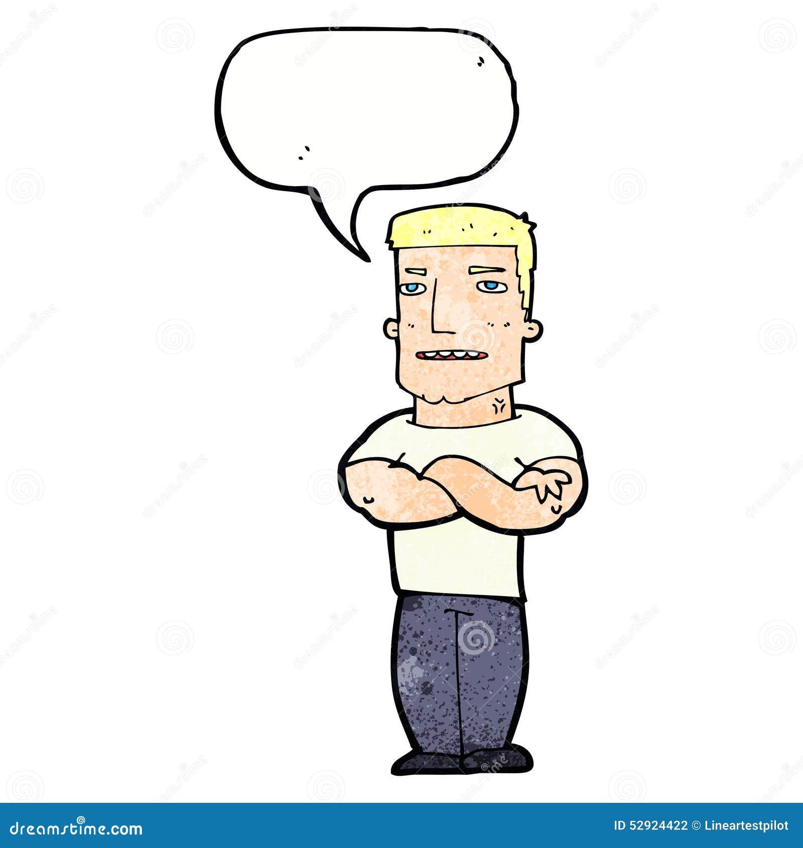 有被交叉的双臂的动画片顽固的家伙有讲话泡影的