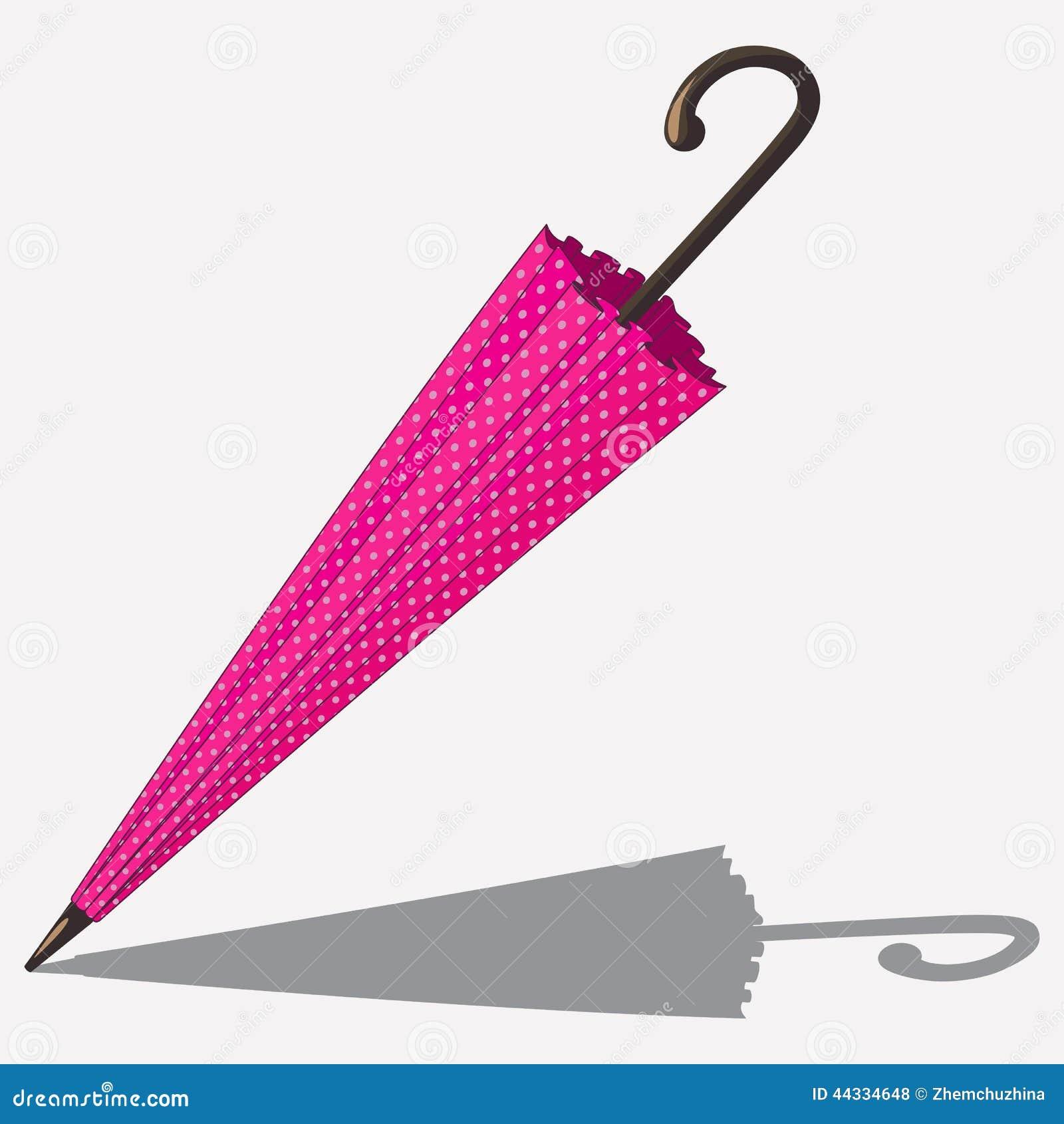 在白色隔绝的动画片桃红色颜色伞.图片