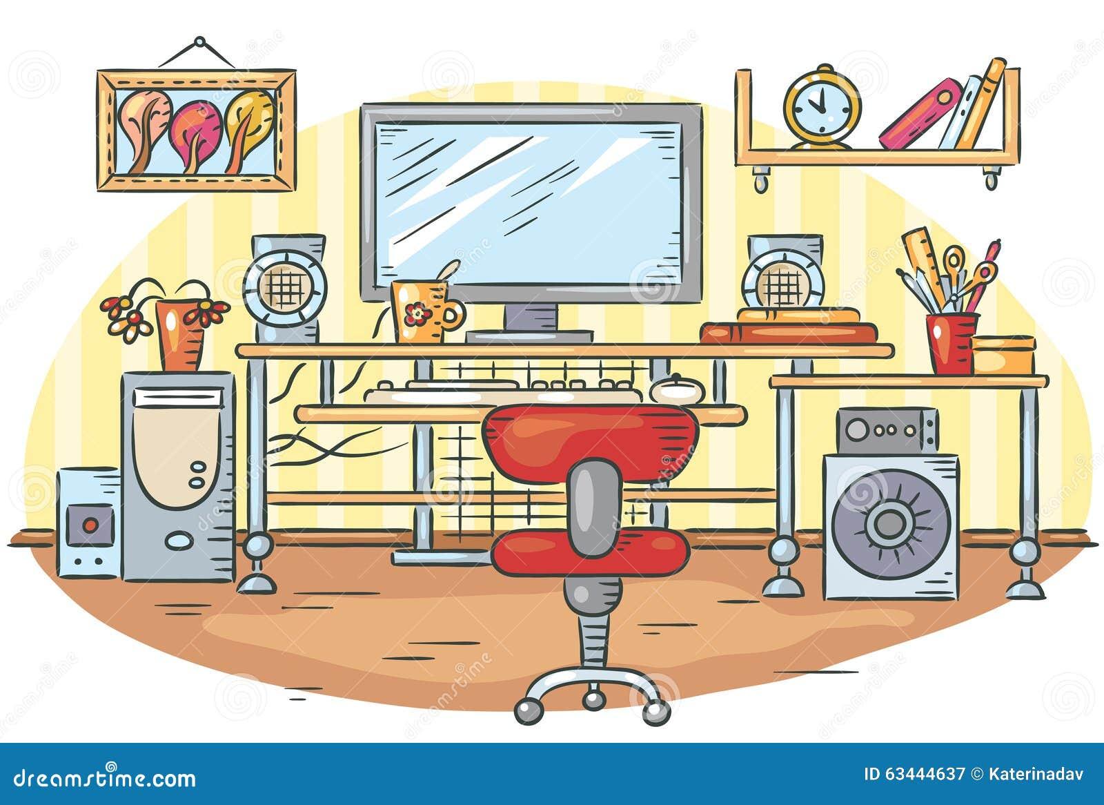 有计算机桌的工作场所