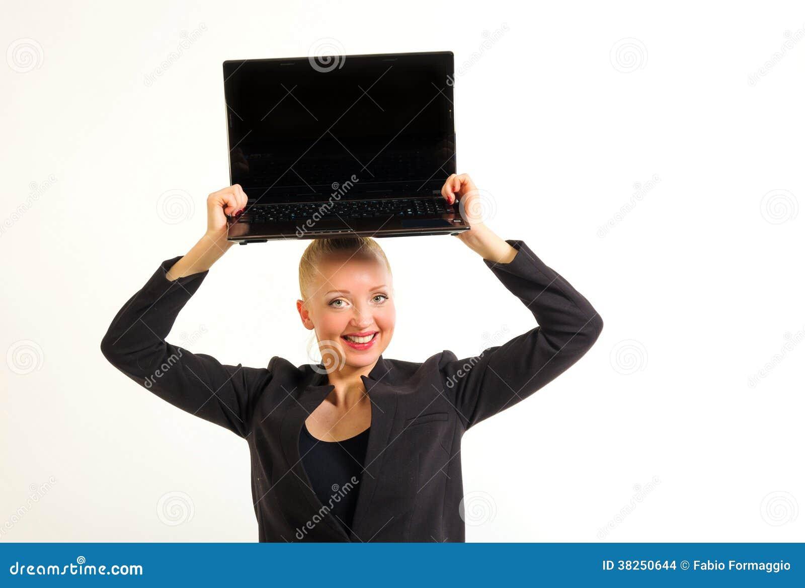 有计算机的女商人