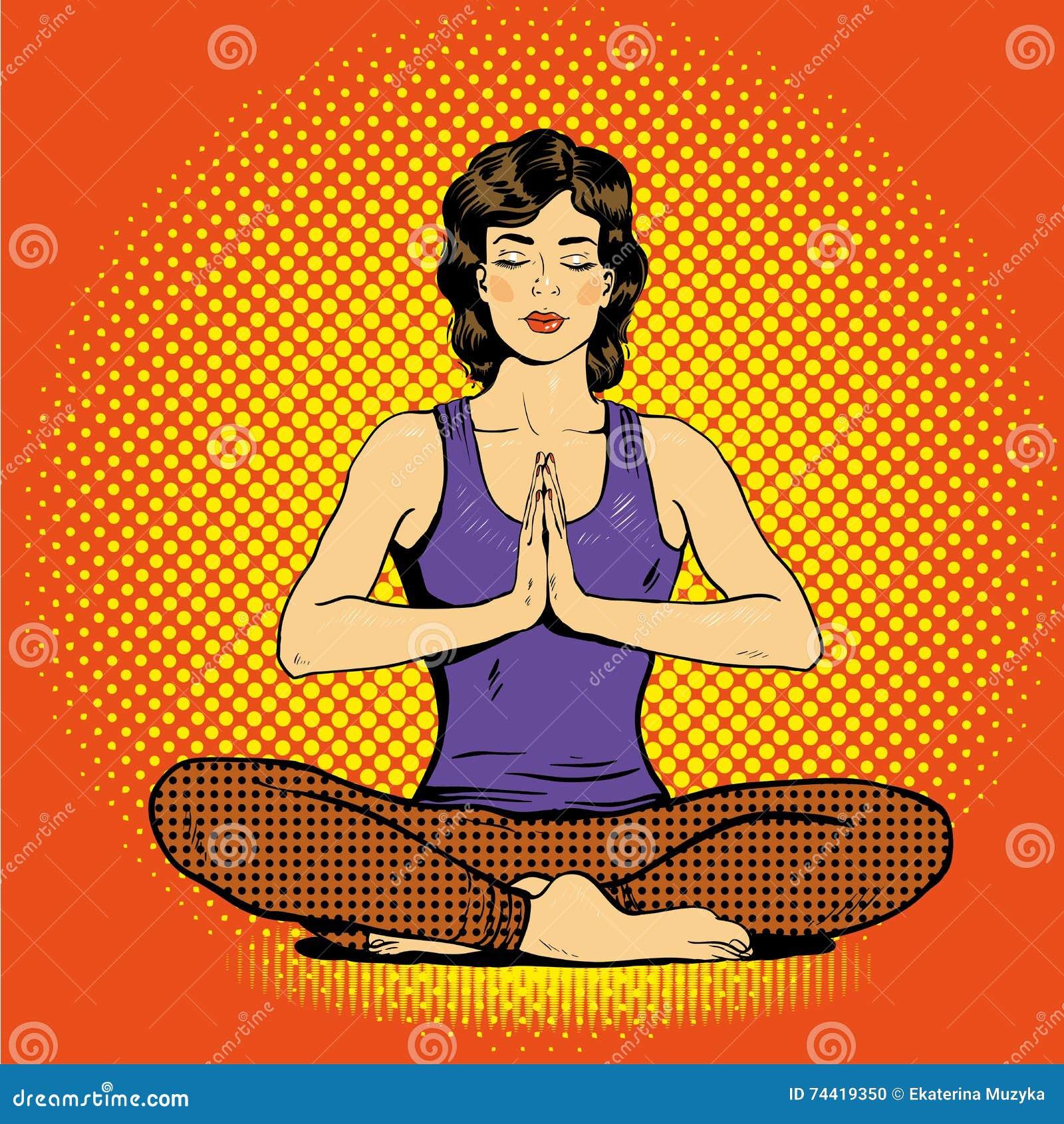 有讲话的思考的妇女在减速火箭的流行艺术可笑的样式起泡 心理平衡和瑜伽概念