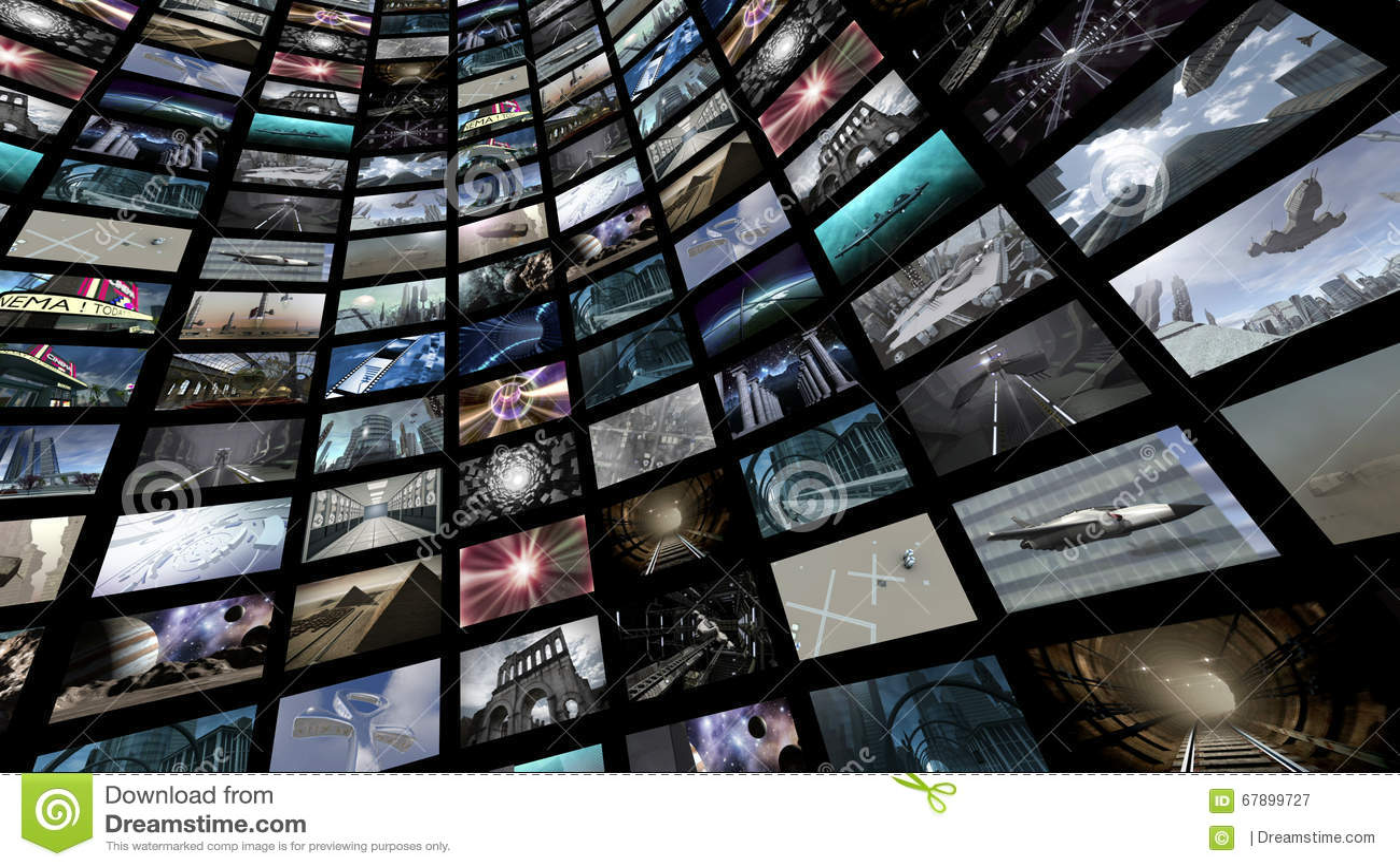 有许多屏象的录影墙壁