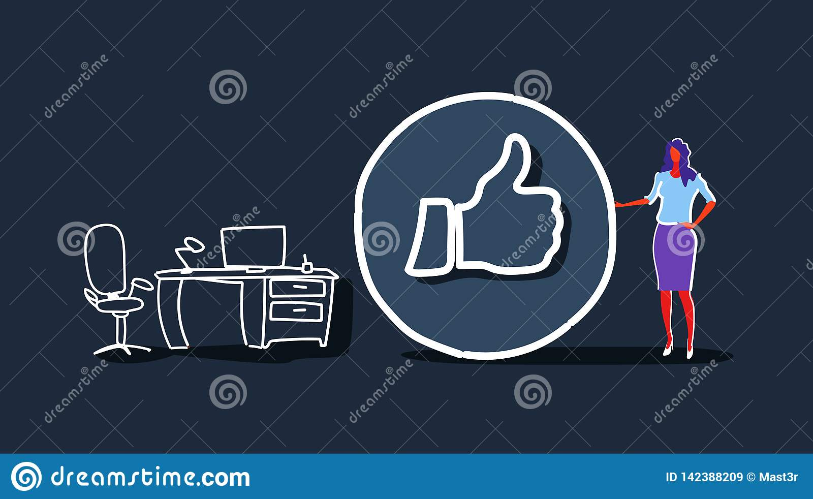 有赞许标志的女实业家象象成功的社会媒介销售的反馈概念工作场所现代办公室