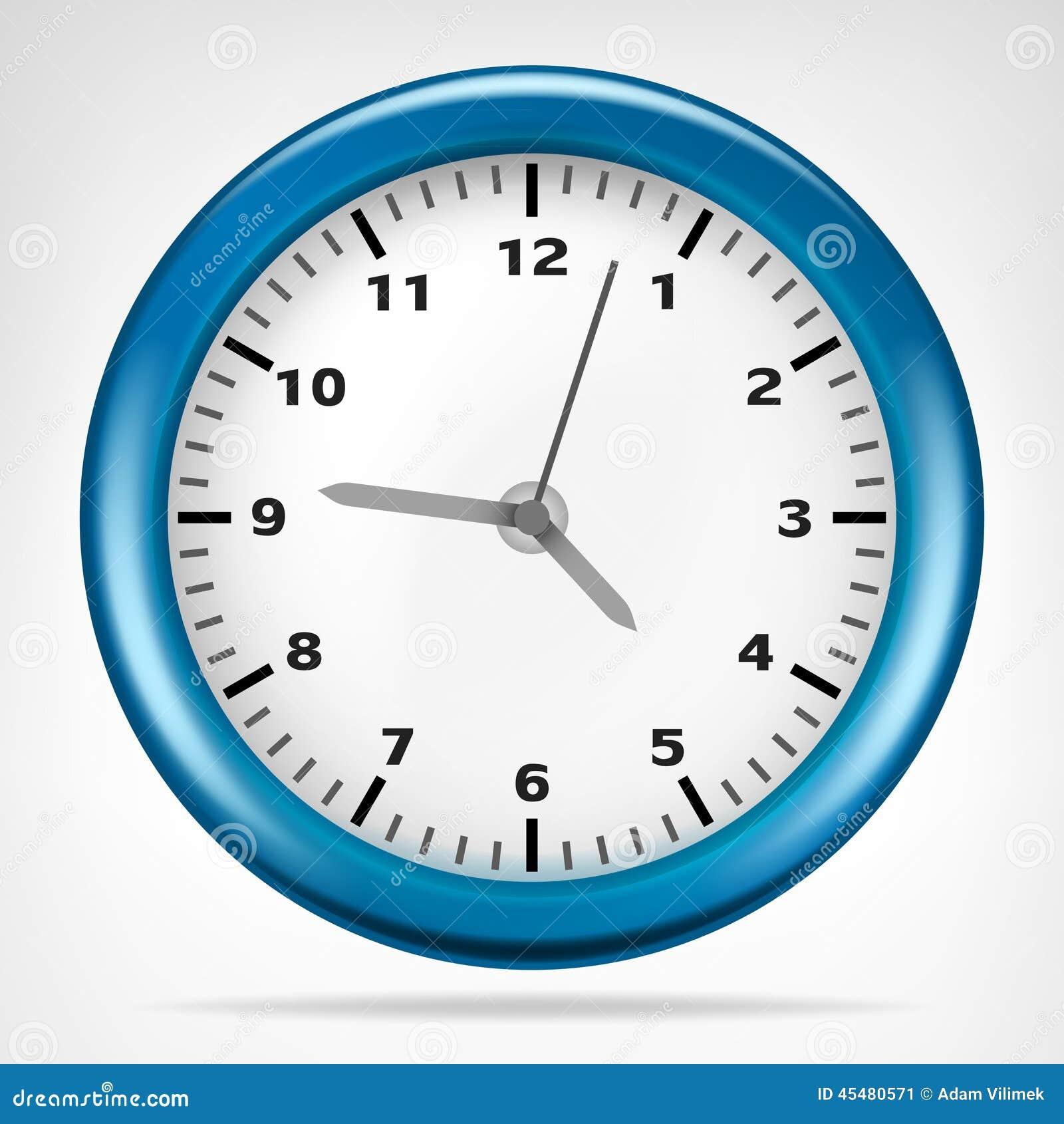 有运行时间对象的蓝色时钟