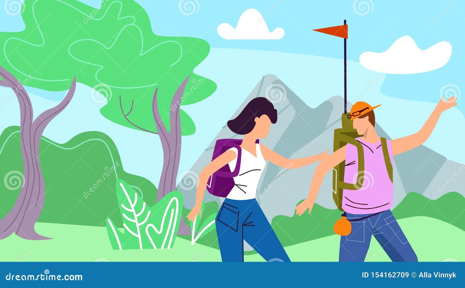 有远足自然的旗子的男人和妇女背包徒步旅行者