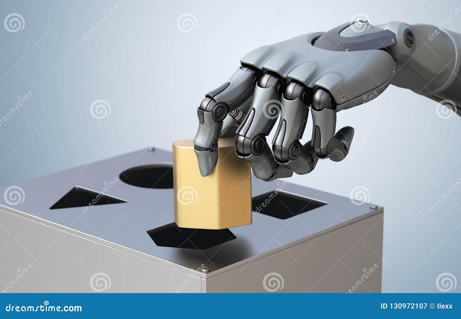 有逻辑箱子的机器人手