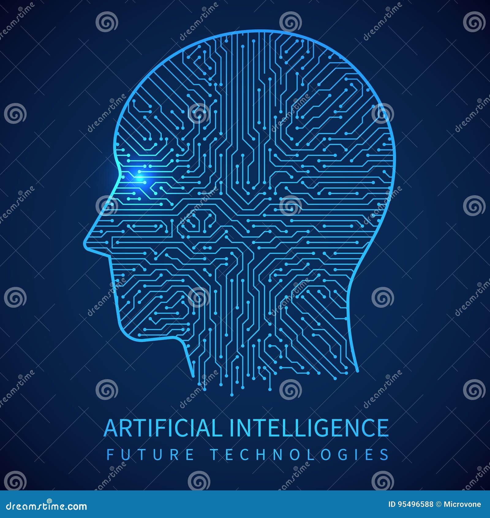 有里面电路板的靠机械装置维持生命的人头 数字式人的传染媒介概念人工智能