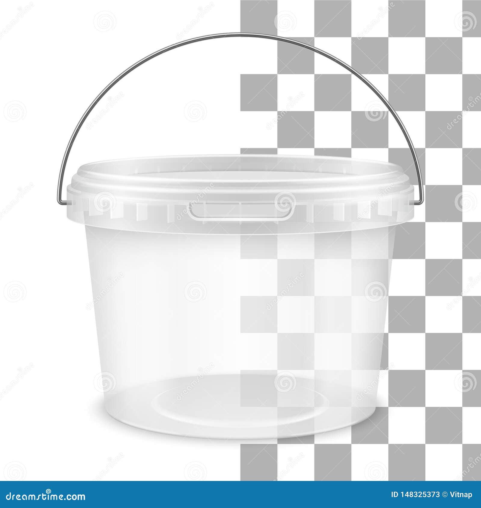 有金属把柄的传染媒介透明回合空的塑料桶 o