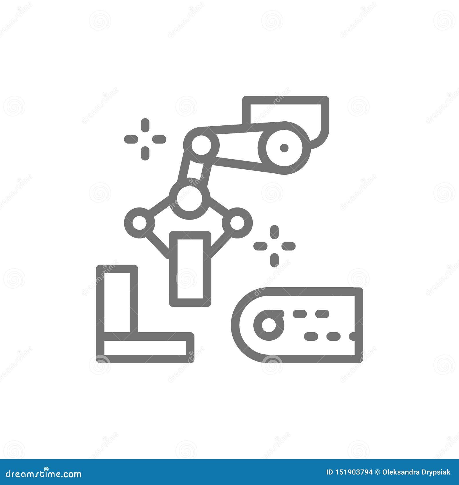 有金属零件的机器人操作器胳膊,冶金学生产线象