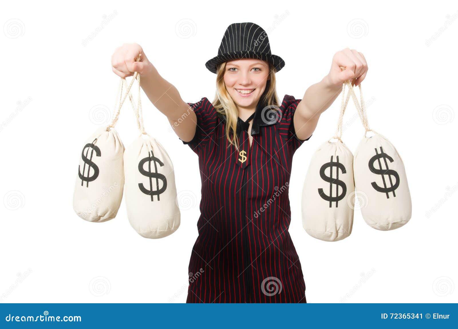 有金钱大袋的妇女在白色