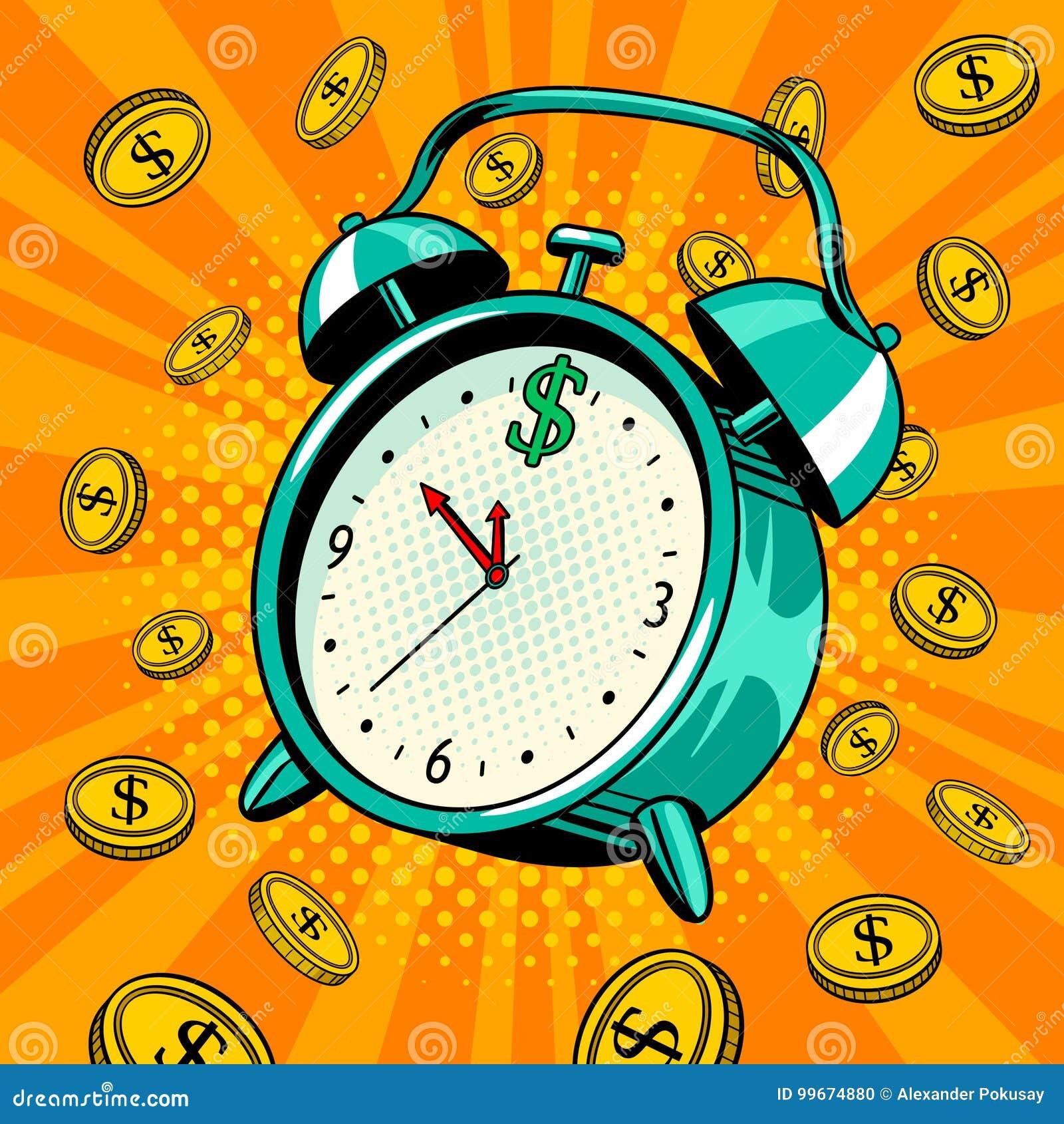 有金钱流行艺术传染媒介例证的闹钟
