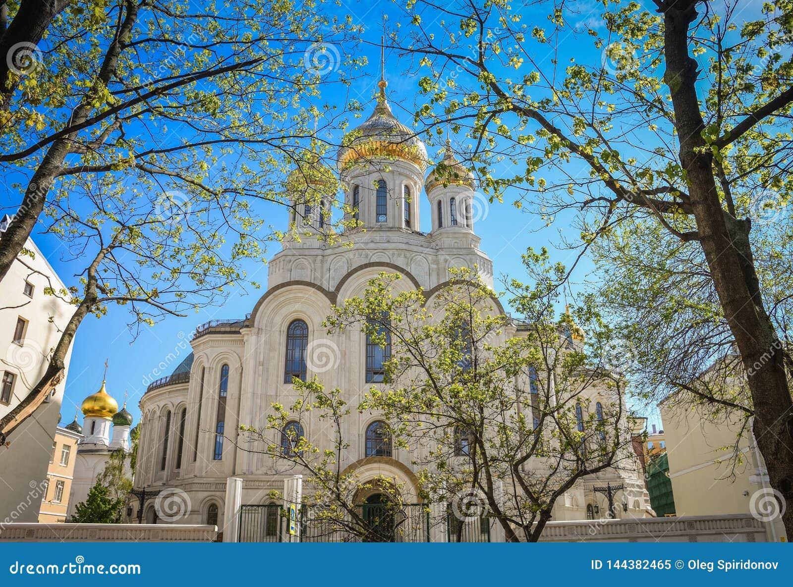 有金黄圆顶的教会在树中的阳光下