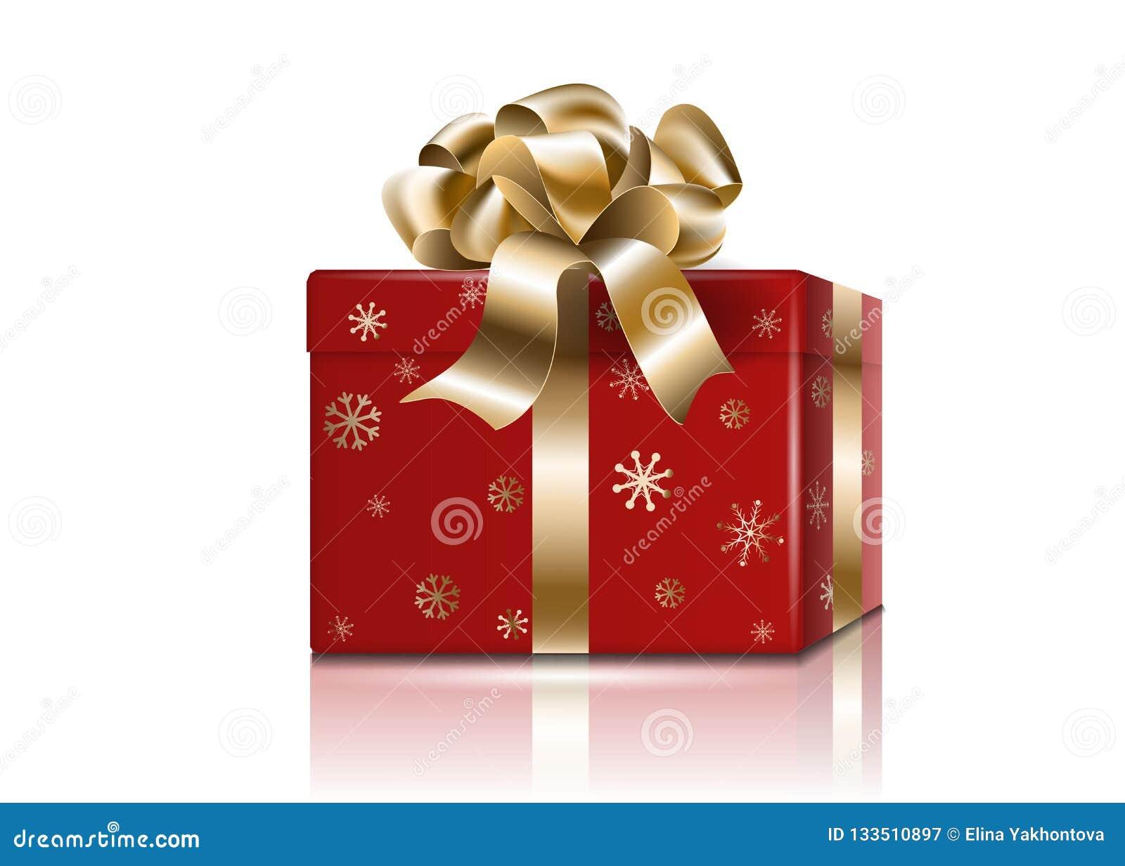 有金黄弓和丝带的,与反射的现实3d大模型,阴影Cristmas礼物新年假日红色箱子被隔绝的传染媒介
