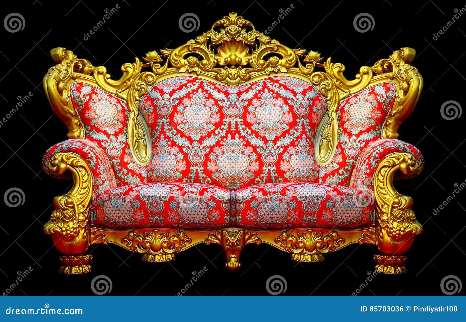 有金黄框架的巴洛克式的沙发