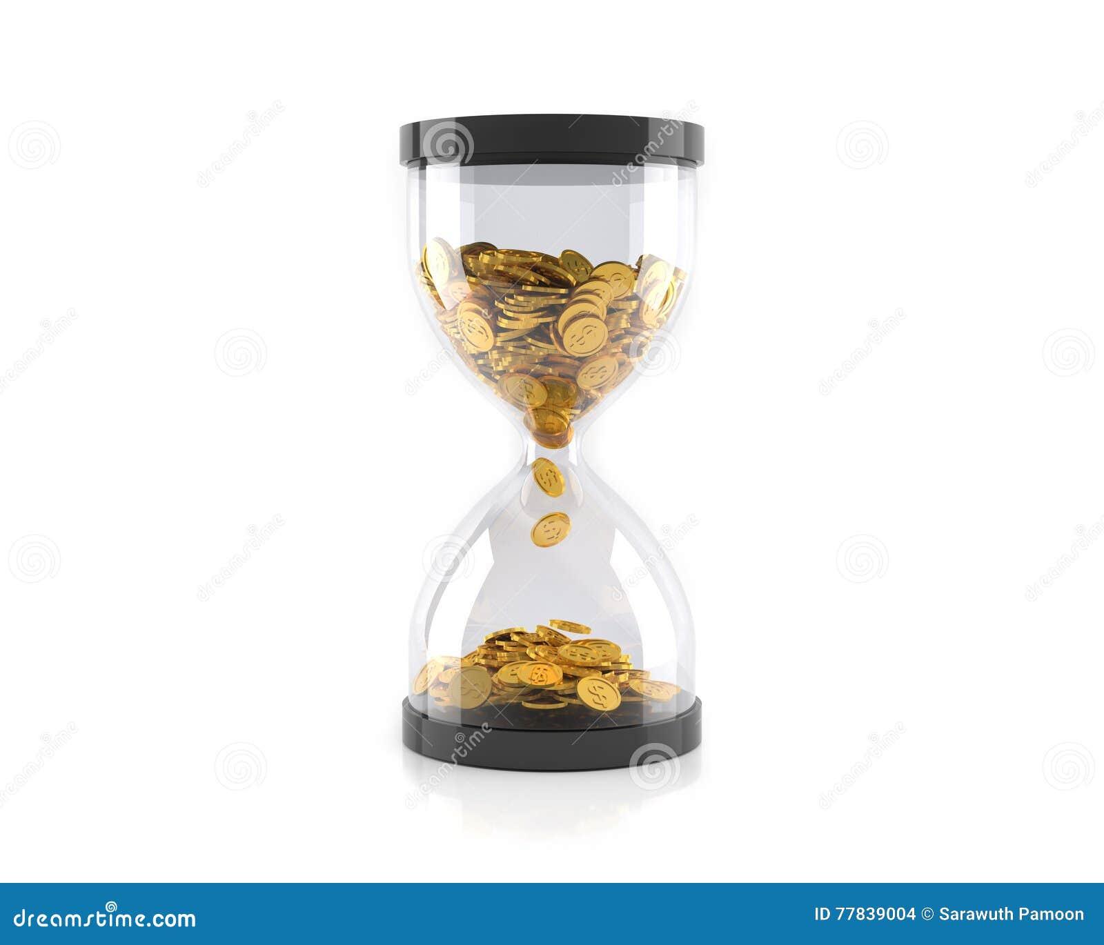 有金黄硬币的滴漏,时间是金钱概念 3d例证