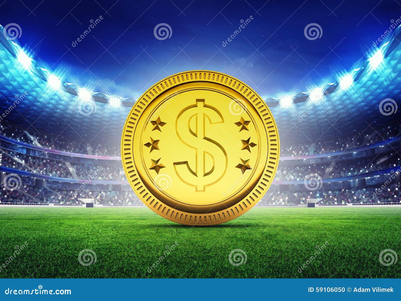 有金黄美元硬币的橄榄球场