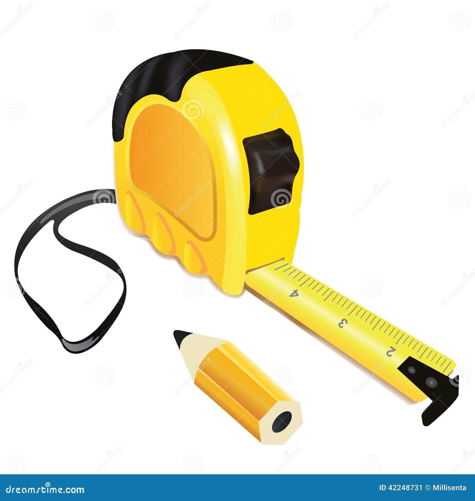有铅笔的黄色轮盘赌措施大厦工具