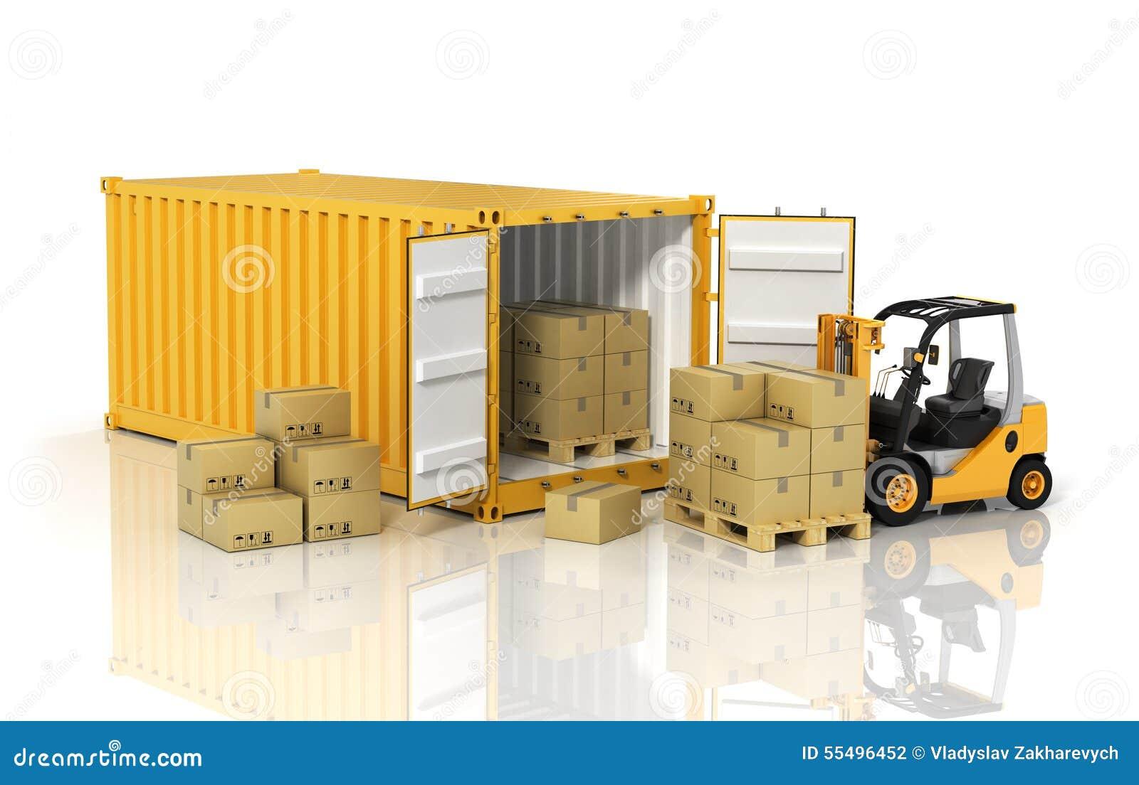 有铲车拿着纸板bo的堆货机装载者的打开容器