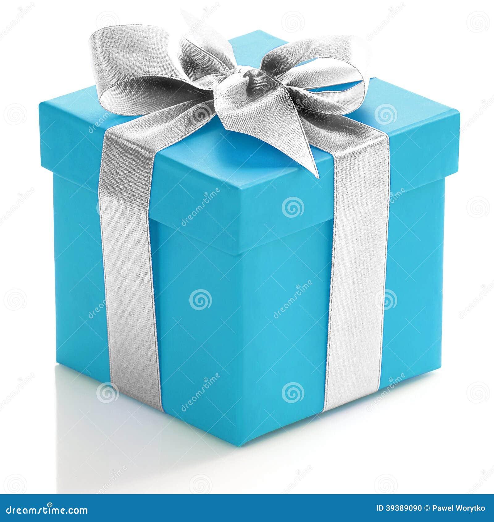 有银色丝带的蓝色礼物盒
