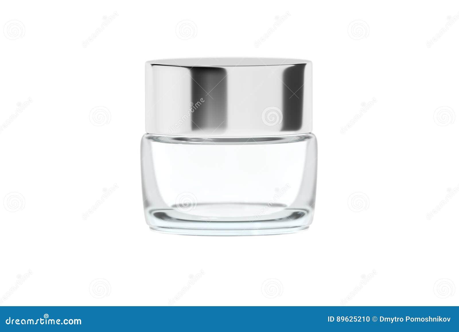 有镀铬物光滑的塑料盒盖3D翻译的清楚的玻璃瓶子