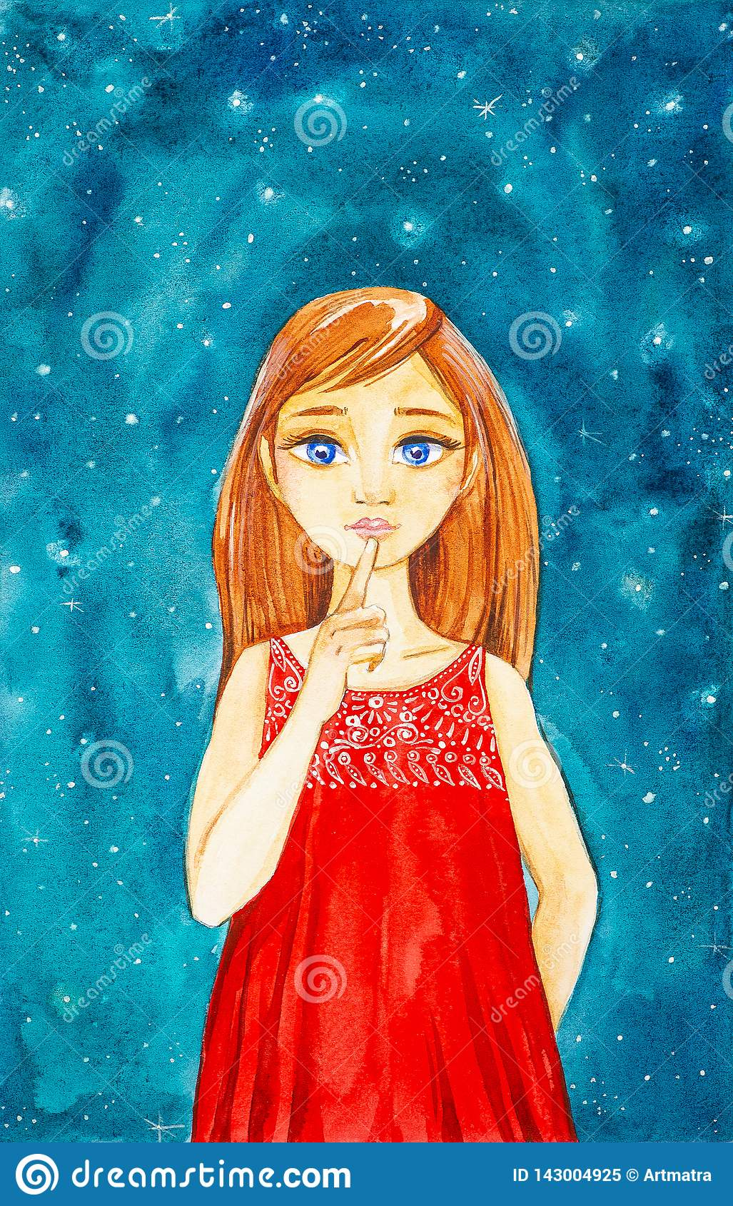 有长的棕色头发和蓝眼睛的一美丽的少女在反对夜空的一件红色礼服显示静寂 额嘴装饰飞行例证图象其纸部分燕子水彩
