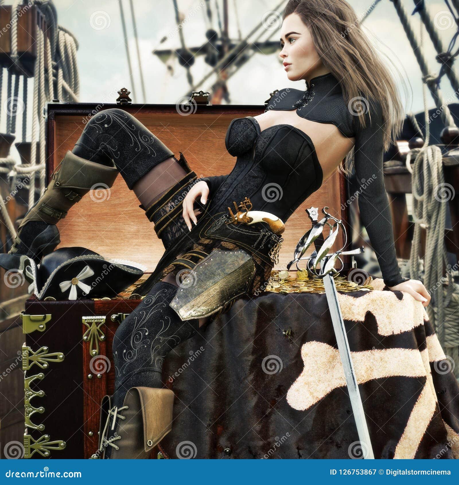 有长的棕色头发的性感的成年女性海盗享用她的她的海盗船的最近获取的珍宝