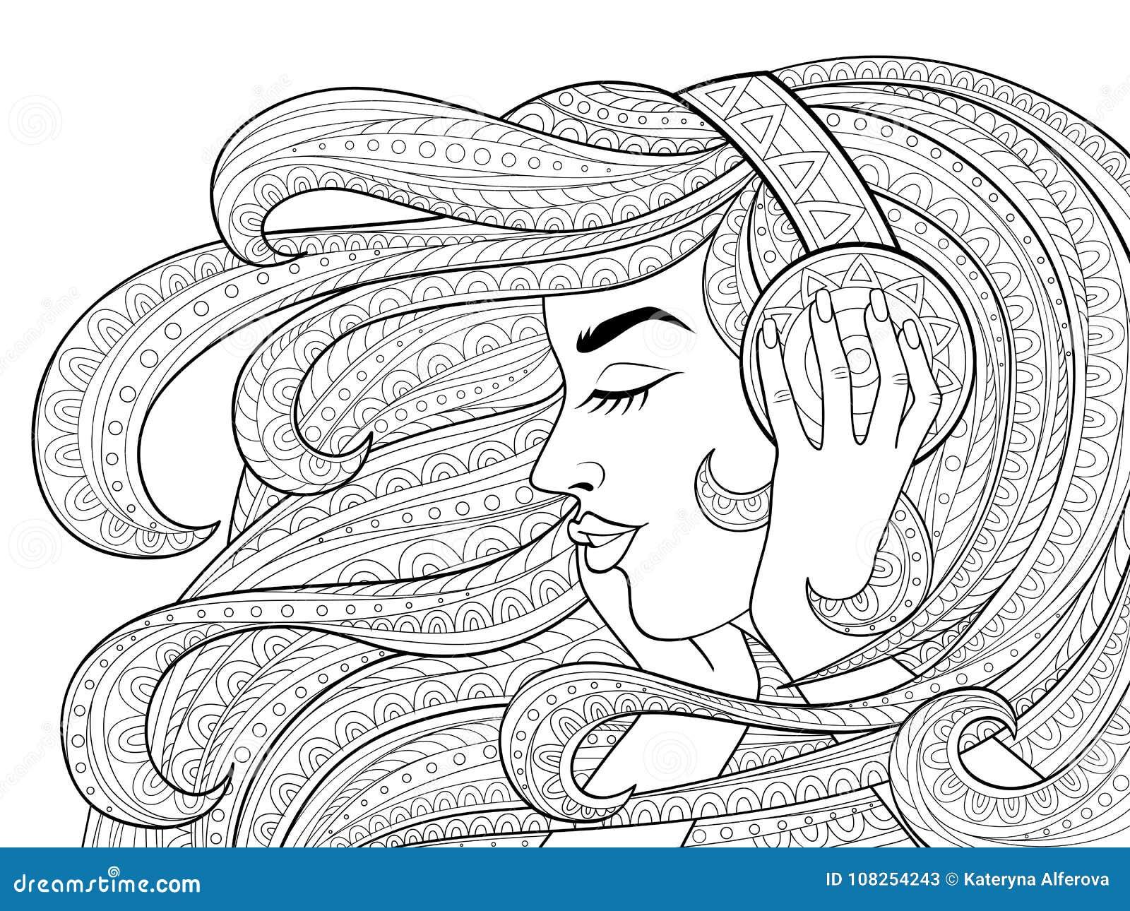 有长的波浪发的年轻美丽的女孩听到在耳机的音乐的 纹身花刺或成人antistress着色页 黑色和whi