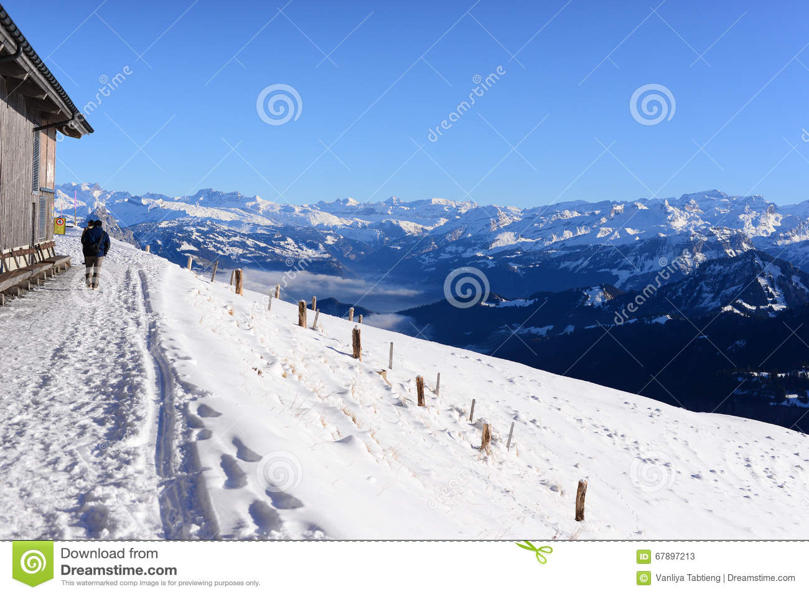 有雪山的雪人行道,瑞吉峰Kulm
