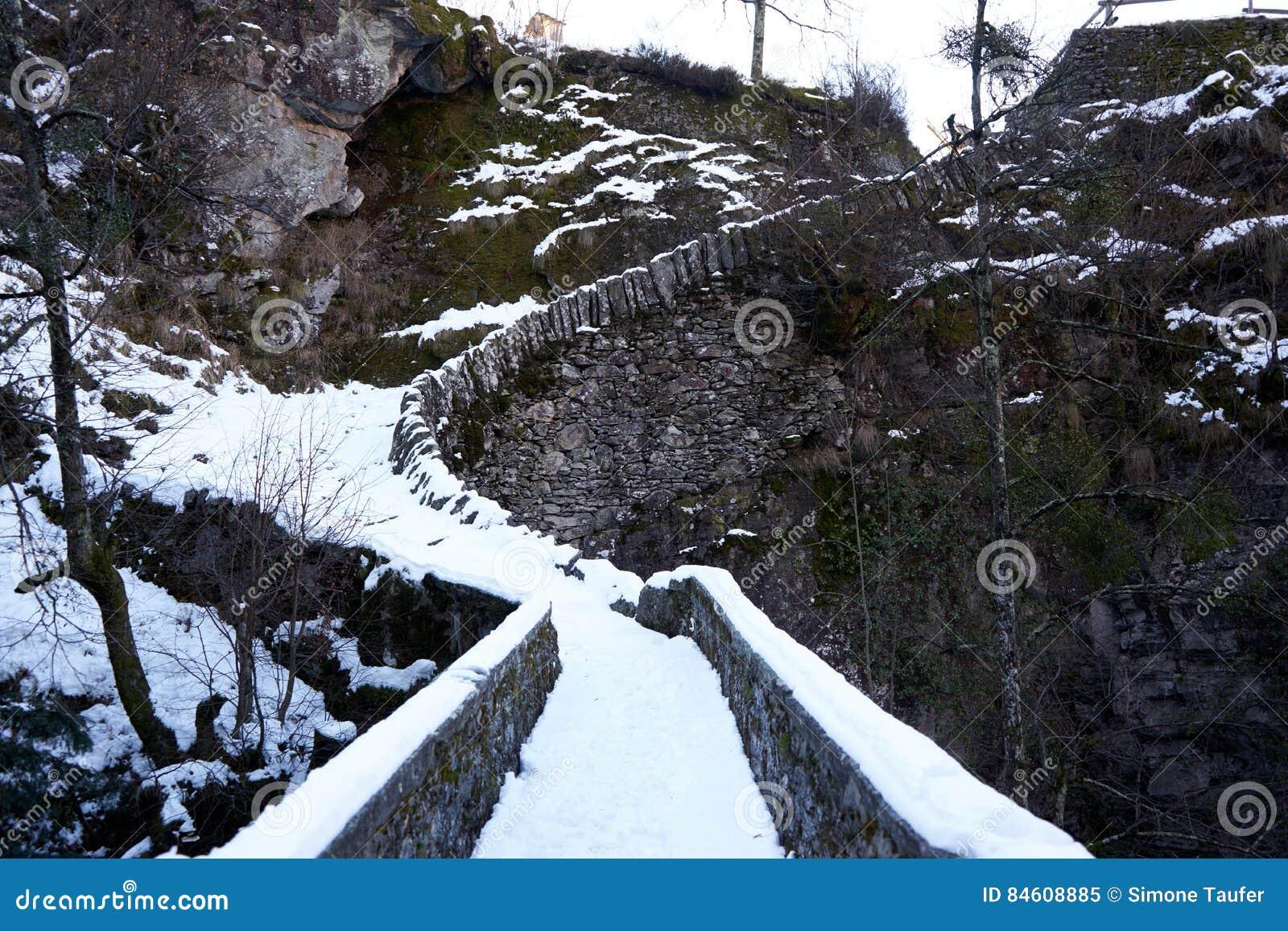 有雪的桥梁