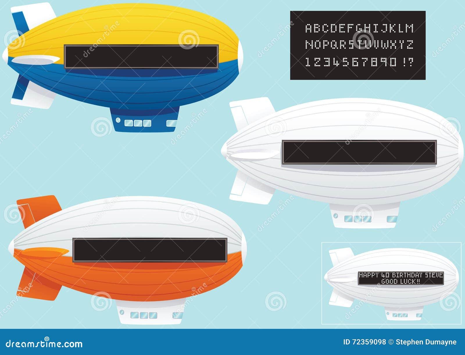 有霓虹灯广告和文本的软式小型飞艇