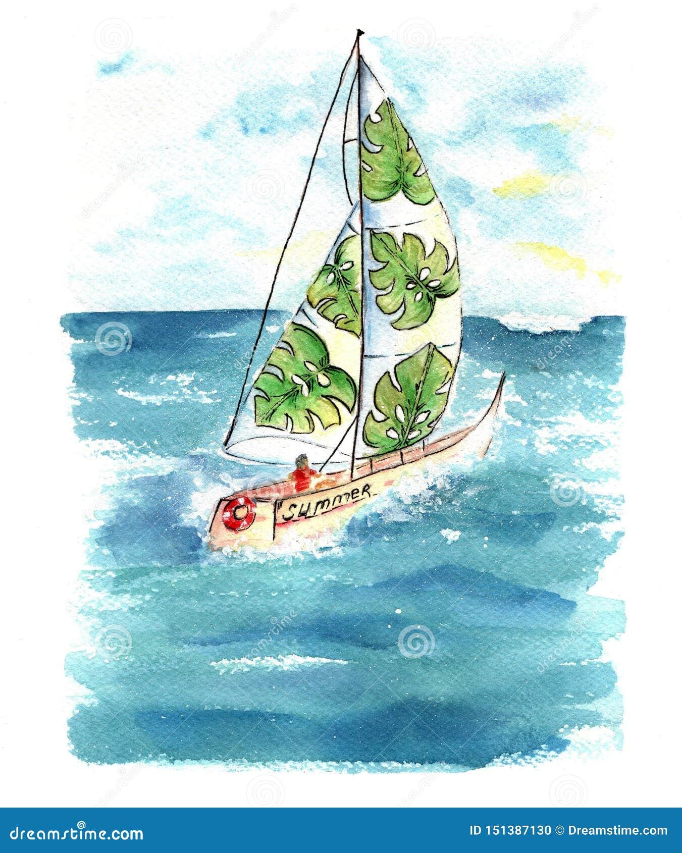 有风帆的水彩小船在海
